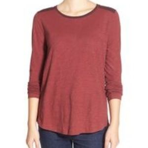 Madewell Whisper Cotton Color Block Long  Sleeve T